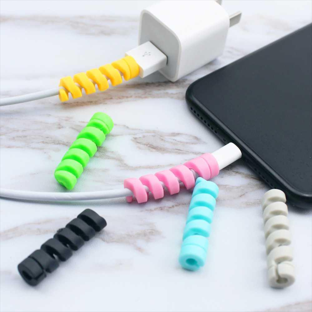 10pcs Spiral Cable Protector Desk Set Earphone Cable Organizer Wire Data Line Holder Winder Wrap Cord Desk Accessories Papeleria