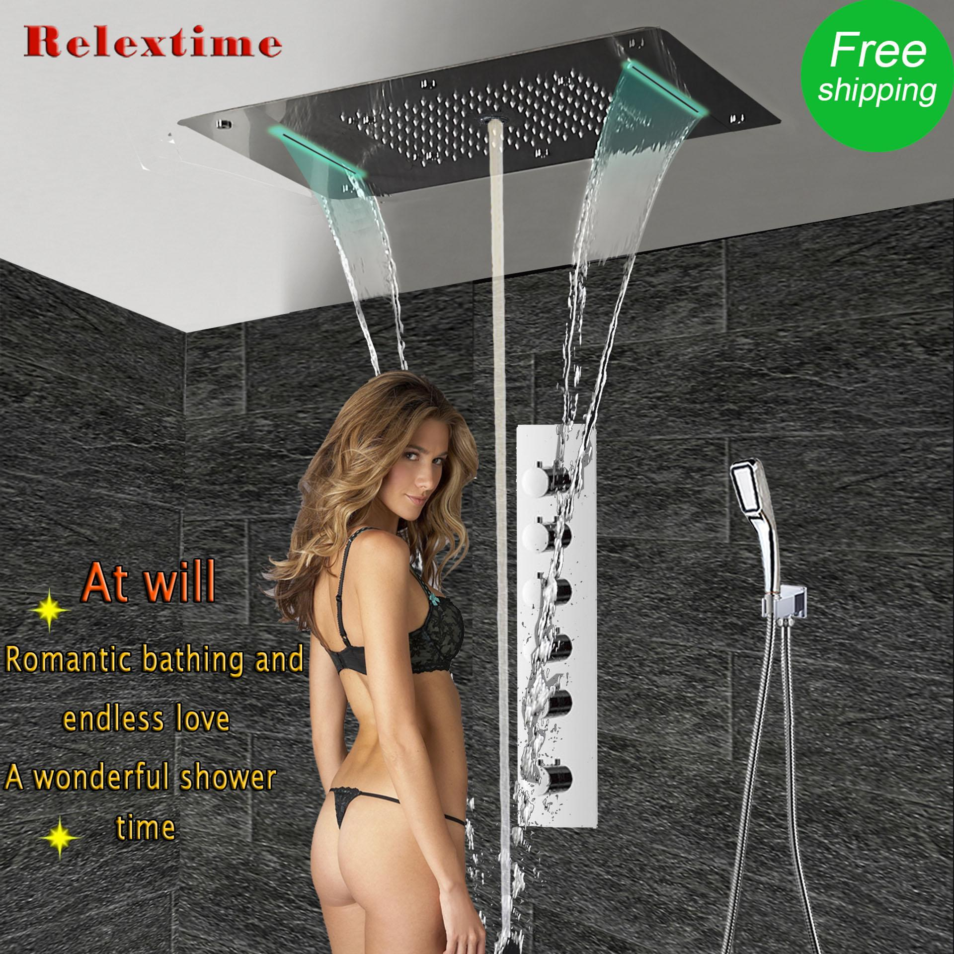 Large flow Thermostatic Concealed Shower Mixer LED Ceiling Shower Head Panel Luxury Bath Shower Rain Waterfall Bubble Mist