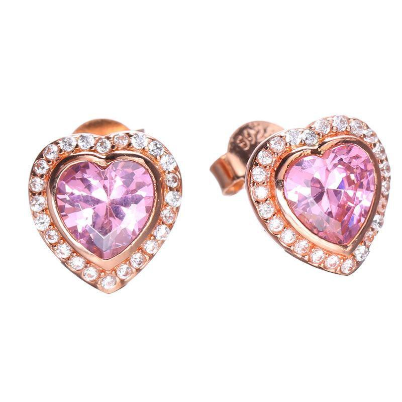 18k Rose Gold Plated Heart Earrings S925 Sterling Silver Pink Love
