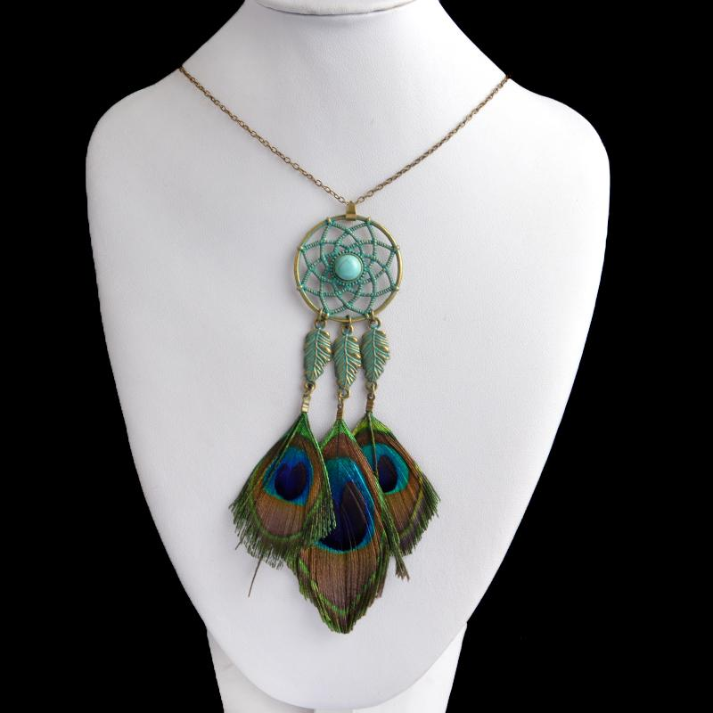 Peacock Dreamcatcher pendant necklace Hot Indian style Bohemian Ethnic feather necklace Vintage Summer BOHO Necklace For Women