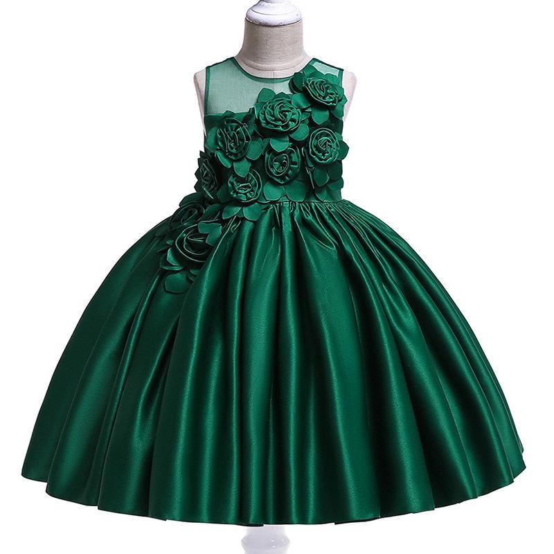 46b124a7 2019 Kids Girls Dresses Infant Red Princess Flower Embroidery Dress ...