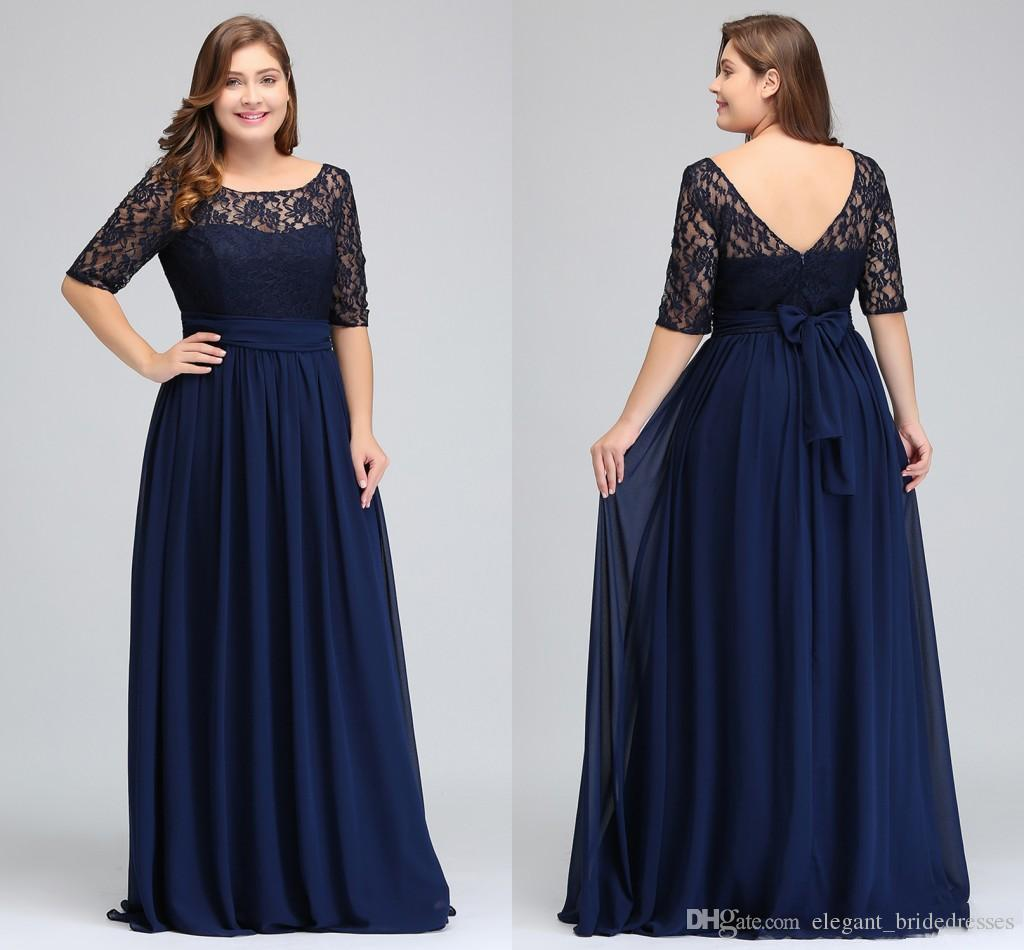 Dark Navy Black Burgundy Half Long Sleeves Plus Size Prom Dresses Lace Top A Line Chiffon V Back Mother of Bride Dresses Cheap Gowns