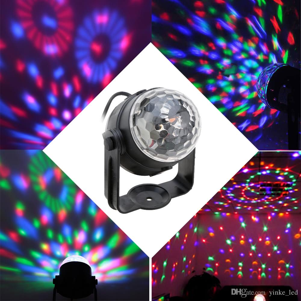 LED Stage Light Sound attivato effetto luci rotanti RGB Strobe Lamp Lighting per Christmas Party Home KTV Disco DJ Xmas