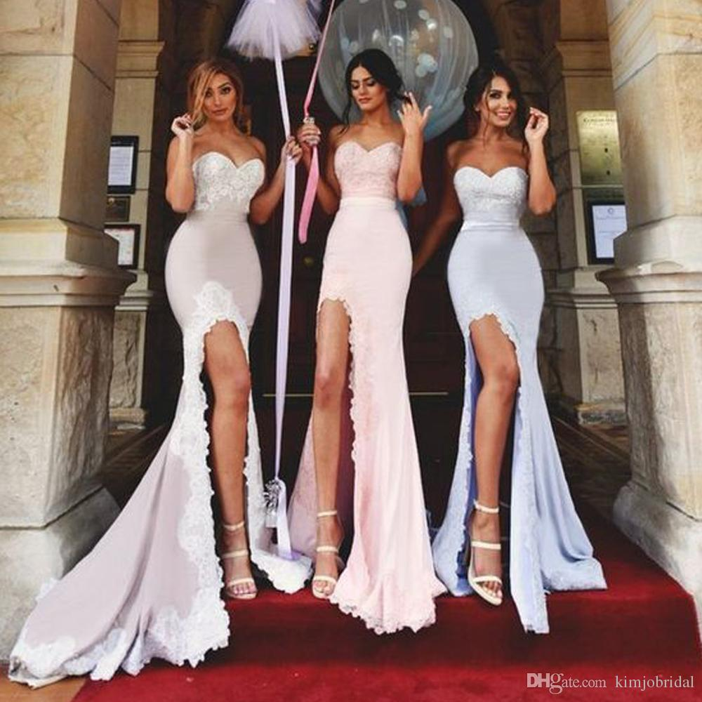 Pink Bridesmaid Dresses Sweetheart Neckline Lace Side Slit Mermaid Backless Sexy Wedding Guest Party Dress