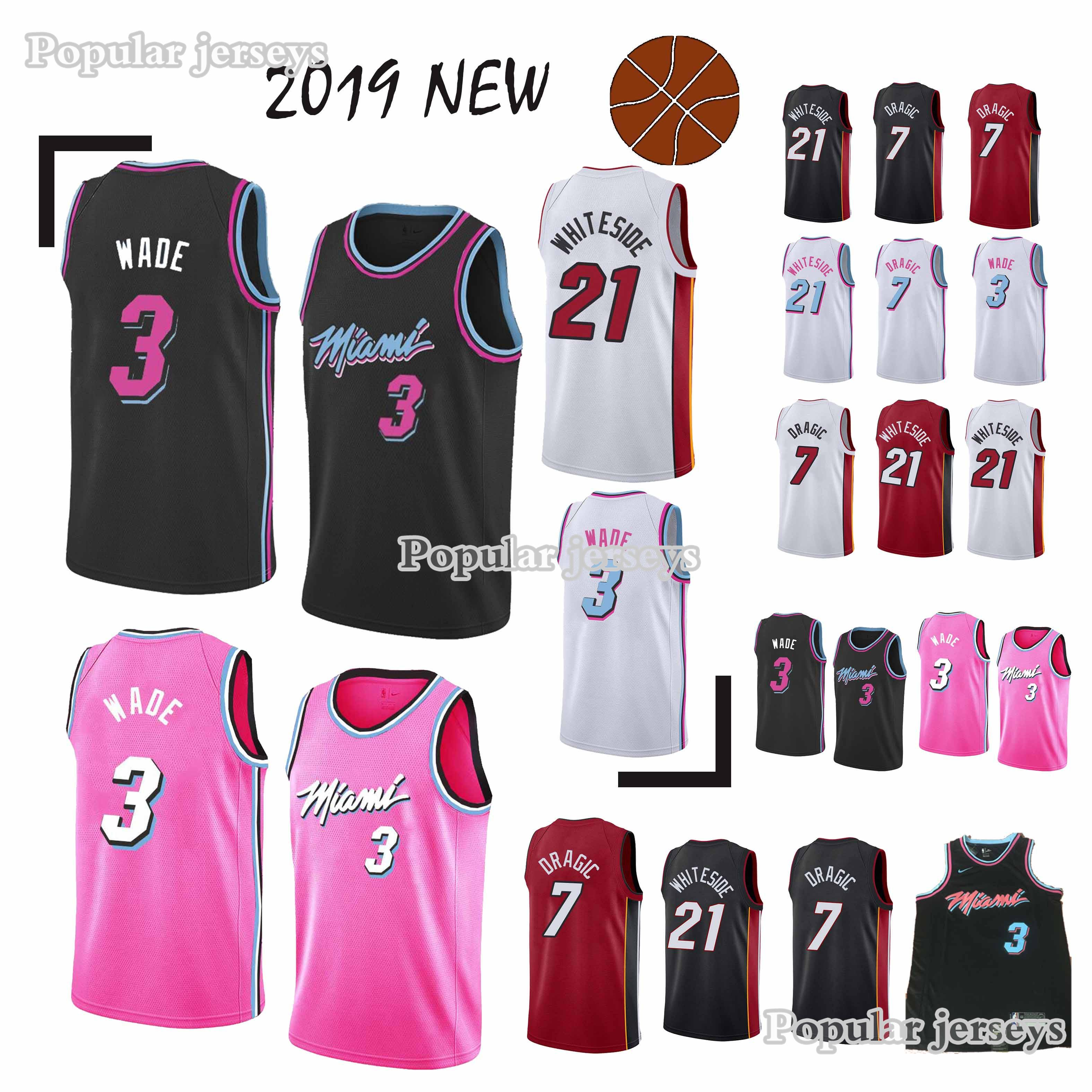 2ad566fac0a 2019 21 Whiteside 7 Dragic Jerseys 3 Wade Superior Quality 18 19 Hot ...