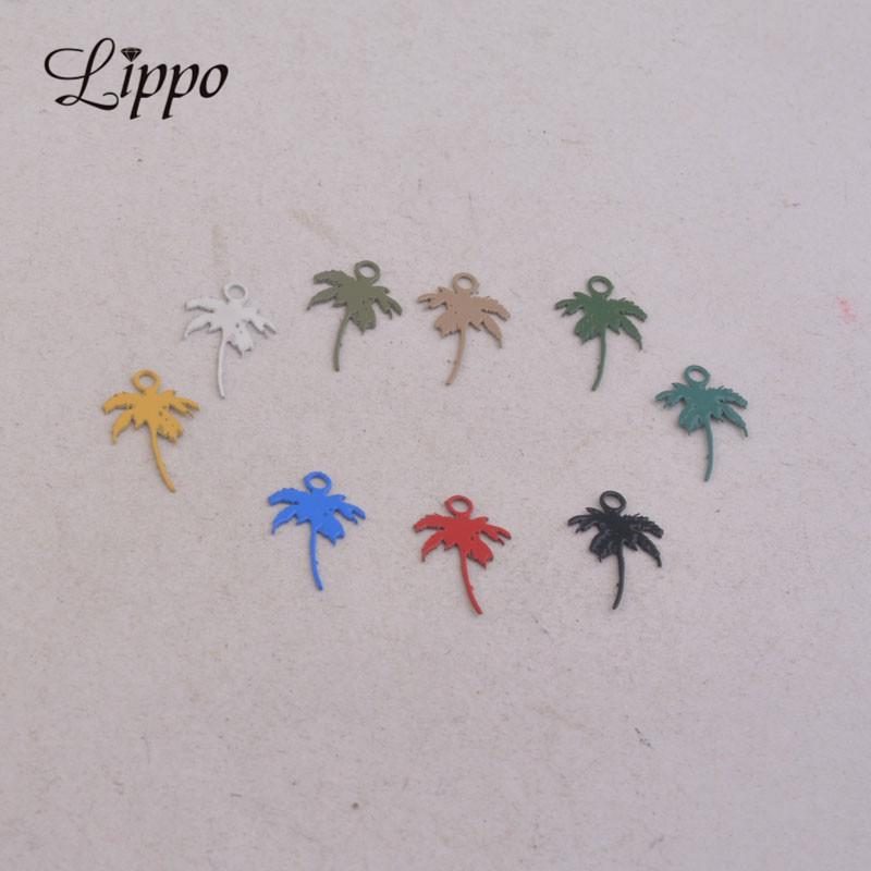 100pcs AC9109 7*12mm Painted Coconut tree Charms Small Tree Pendant Metal Jewelry Filigree Earrings Findings