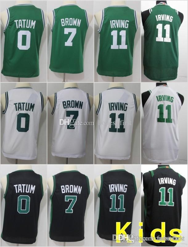 newest 12cc2 30111 Youth Kids Boston 11 Kyrie Irving Celtics Jerseys 0 Jayson Tatum 7 Jaylen  Brown 33 Larry Bird Basketball Stitched Size S-XL