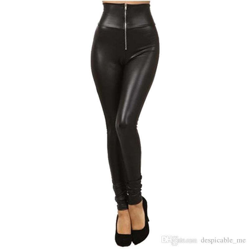 a21649734c Acheter Pantalons En Cuir Pour Femmes Femmes Hiver Femmes Pantalons Taille  Haute Pantalons En Cuir 2019 Femmes PU Maigre Crayon Extensible Pantalons  De ...