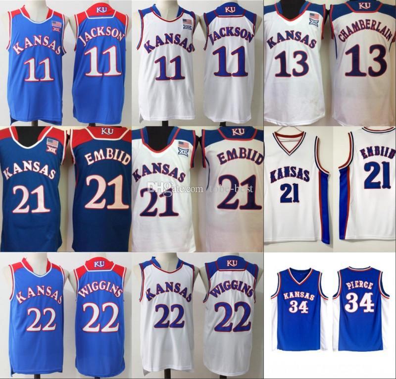 c09dfbb69 2019 NCAA Kansas Jayhawks Jerseys College Basketball Paul 34 Pierce Andrew  22 Wiggins Joel 21 Embiid Men Josh 11 Jackson Wilt 13 Chamberlain From Tobe  Best, ...