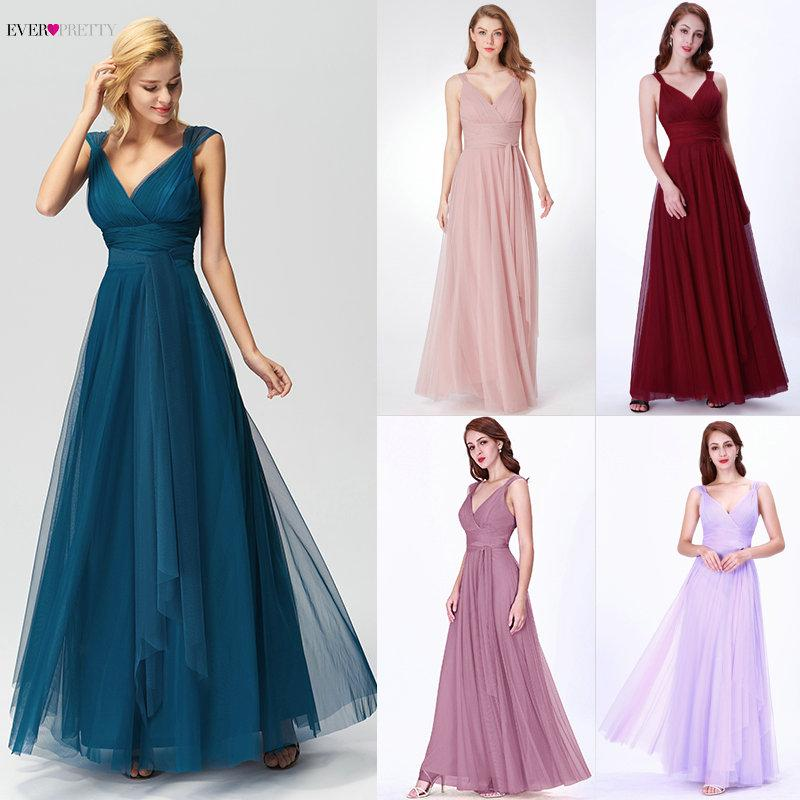 Prom Long Elegant Dresses Ever Pretty EP07303 V-neck Sleeveless A-line  Tulle Teal Prom Dresses 2018 Pink Sexy Vestido Formatura Online with   87.64 Piece on ... 4b6cf65889b3