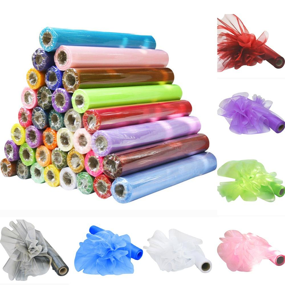 26M X 29CM Organza Roll Fabric Wedding Party Decor Chair Bows Table Runner Sash Decoration Events