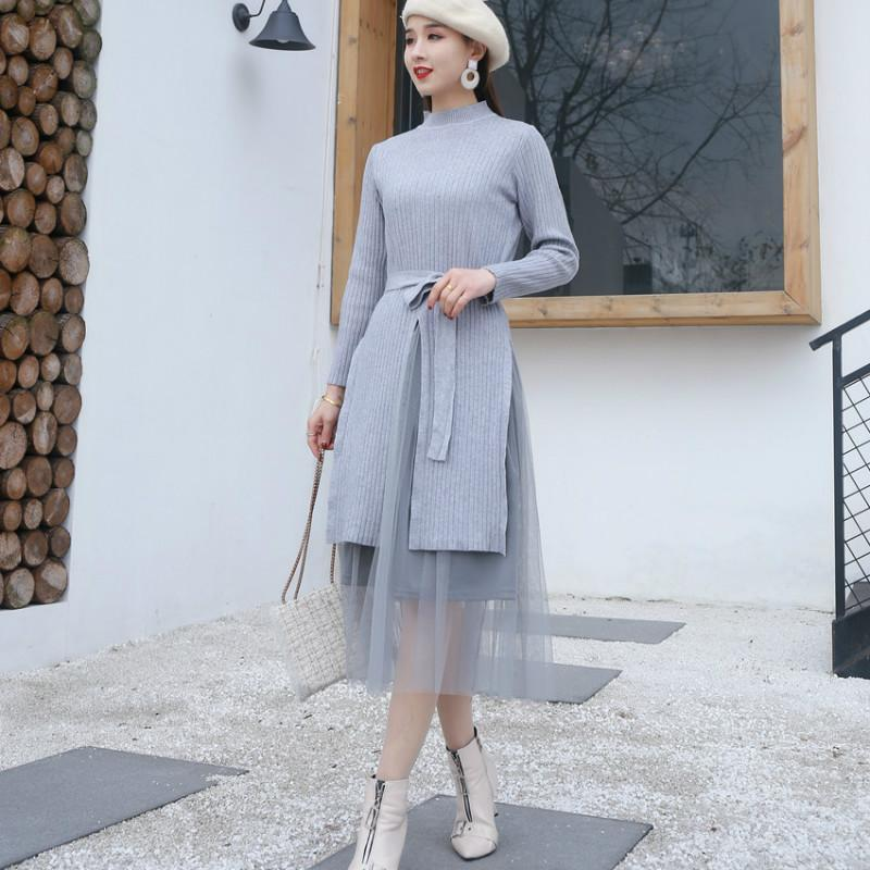 f7c5788cc7c1 2 Piece Set Women 2019 Two Piece Outfit Winter Fashion Cardigan Knitwear  Long Sleeve Sweater Woman Pullover+mesh Grey Midi Skirt