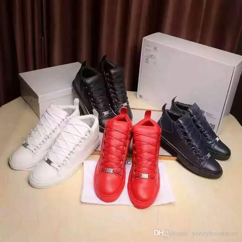 12ccb197a6 Compre 2019 BB Marca De Luxo Sapatos De Grife Sapatilhas Hight Tudo  Vermelho Branco Triplo Preto Moda Plana Botas De Corte Superior Formadores  Sz 36 46 De ...