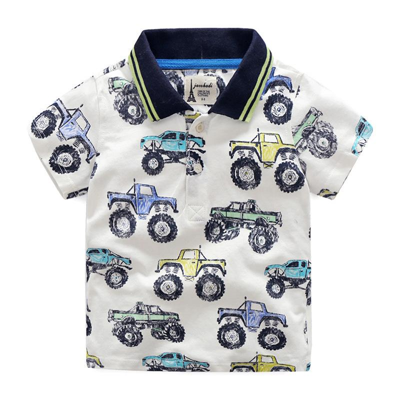 100% Cotton Short-sleeve Boys T-Shirts 2019 Brand Printed Car Children T-shirt 2-7 Years Kids Clothes Summer Teenager Kids Tops