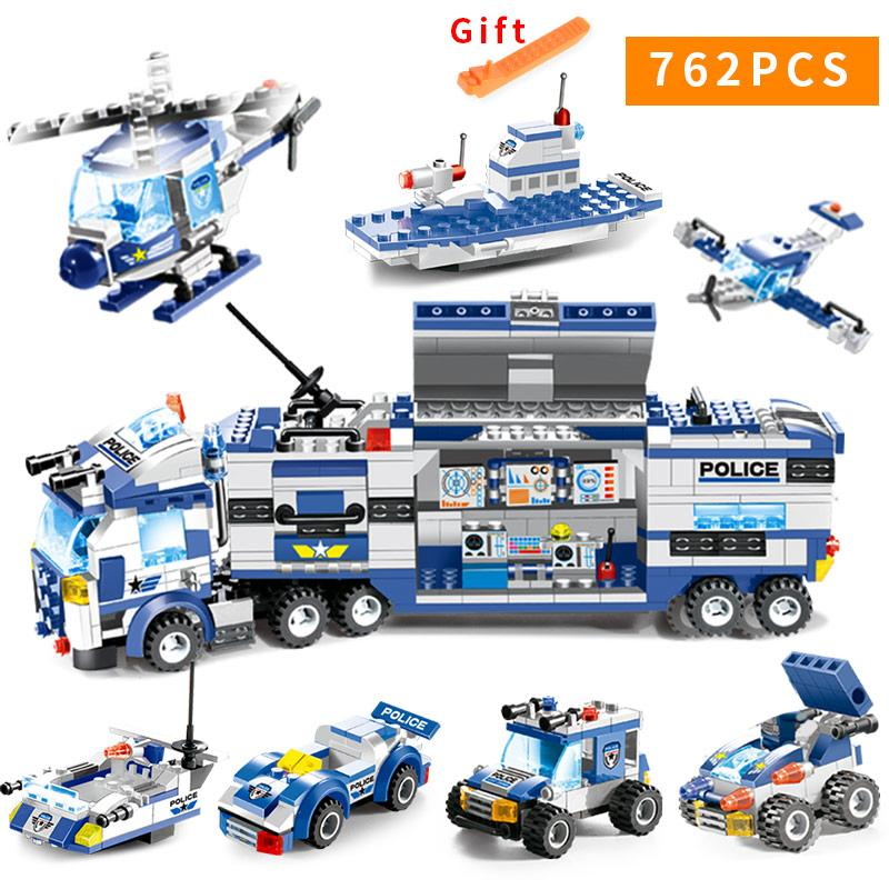 647pcs 762pcs City Police Series Swat 8 In 1 City Police Truck Station Building Blocks Small Bricks Toy For Children Boy J190722
