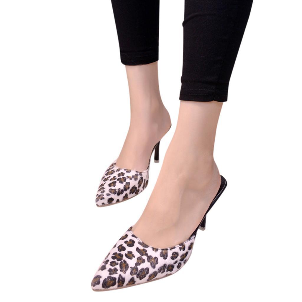 Compre Zapatos Youyedian Para Mujer Zapatillas De Punta Leopardo Sandalias  De Tacón Alto Sapato Feminino Estampado Moda Para Mujer Stiletto Single    G2 A ... 99b62d402c8b
