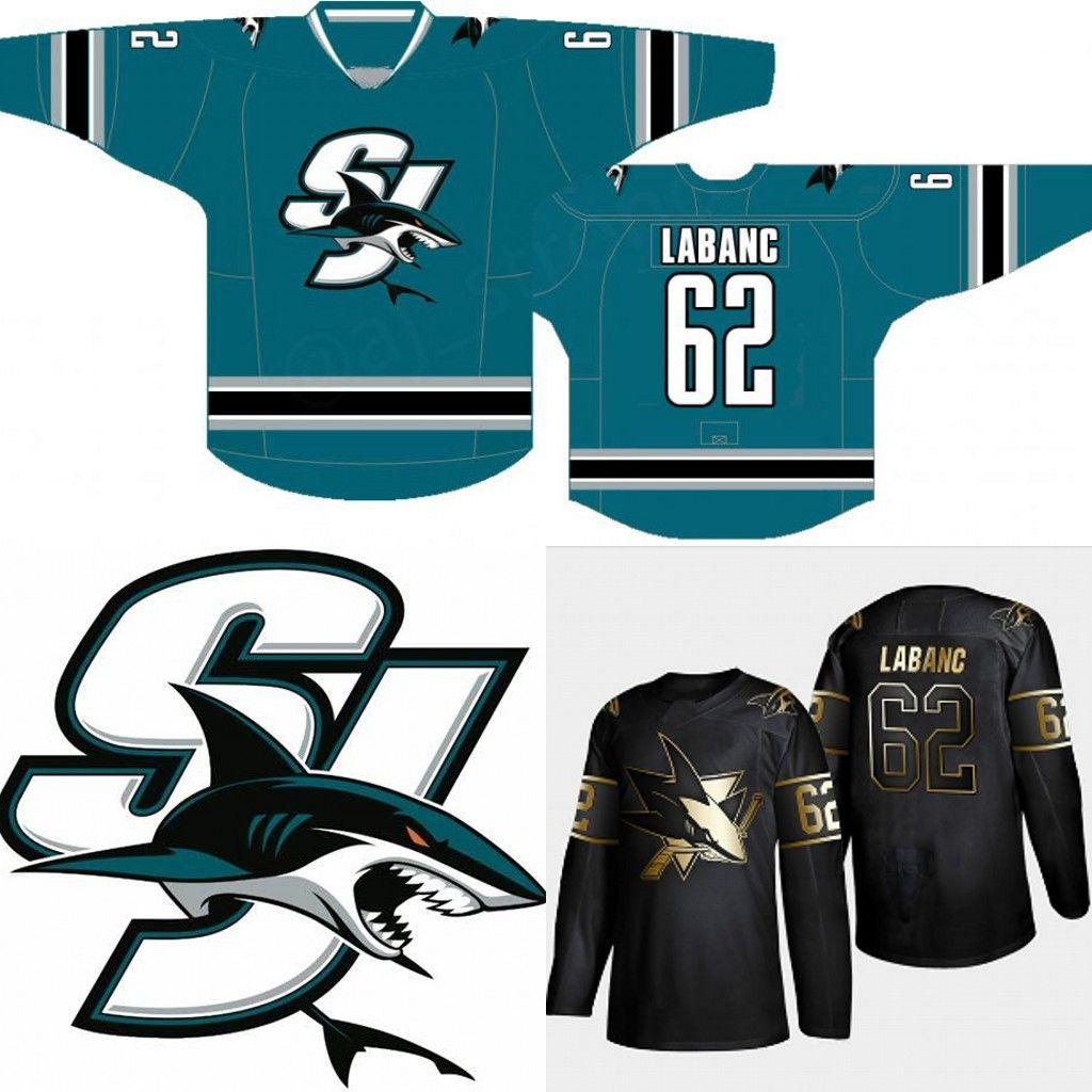 brand new a5e28 9eb22 #62 Kevin Labanc San Jose Sharks Alternate Jersey 88 Brent Burns 19 Joe  Thornton 14 Gustav Nyquist 65 Erik Karlsson Golden Edition Jerseys