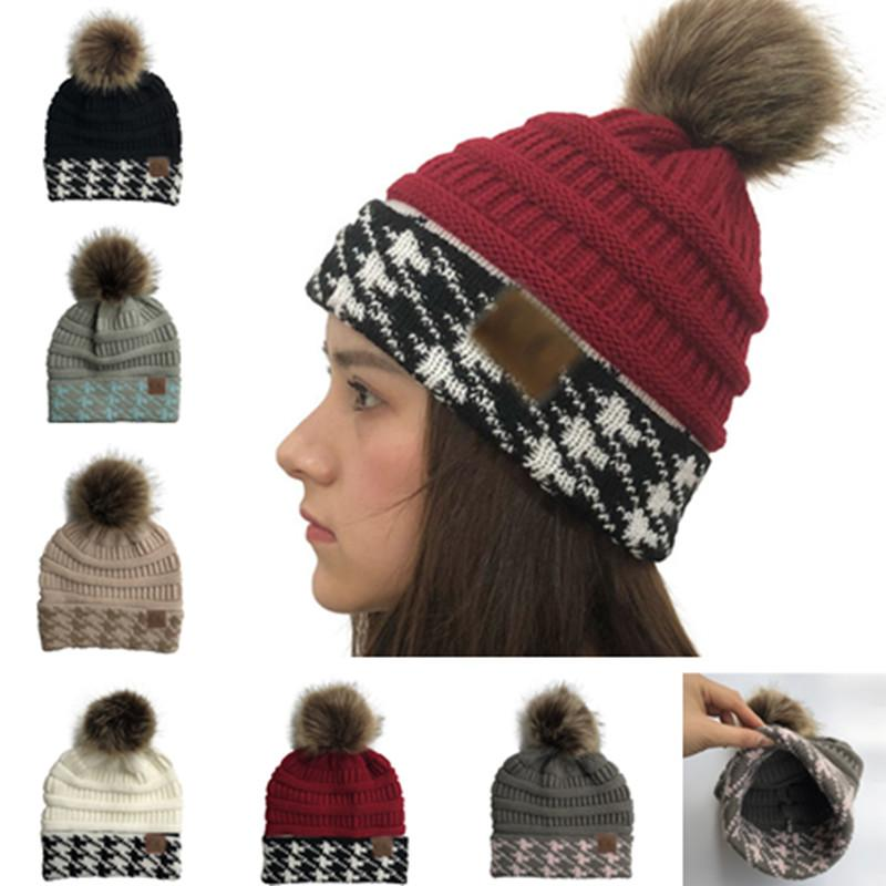 2019 Women Knit Beanies Winter Pom Hat Swallow Gird Winter Warm Knitting  Caps Solid Color With Fur Pom Skull Cap Ski Outdoor Golf Hats Brand From ... b2b2a1314610