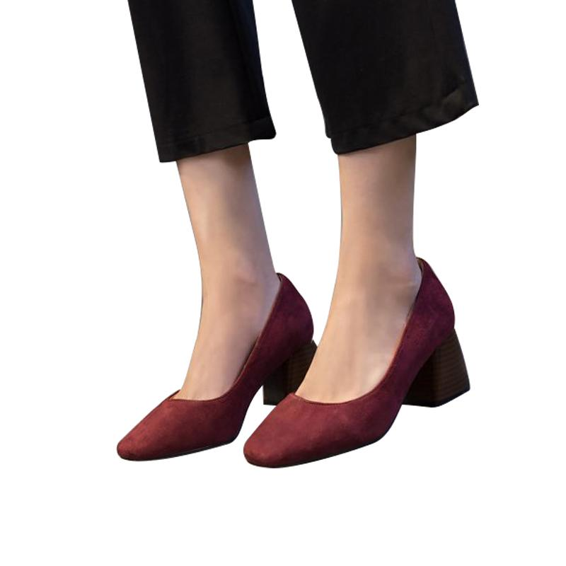 Compre 2019 Zapatos De Envío Gratis Mujer 2019 Tacón Grueso Primavera Y  Otoño Cabeza Redonda Boca Baja Con Tacones Laterales Con Zapatos De Mujer A   24.93 ... 71f60aaedffd
