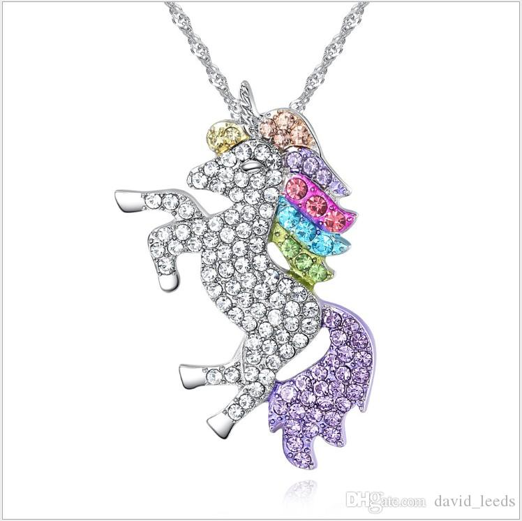 2019 New Kids And Women Nacklace Colorful Unicorn Diamond Pendant Necklace Children Girls Sweater Chain Jewellery Accessories 20pcs/lot