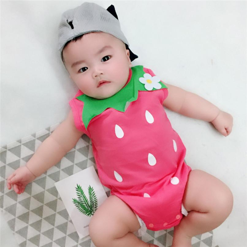 e7a344a791c 2019 Summer Babys Girls Clothes Toddler Infant Baby Girl Strawberry Print  Sleeveless Jumpsuit Romper Clothes Baby Girls Romper JY04 F From Cynthia01