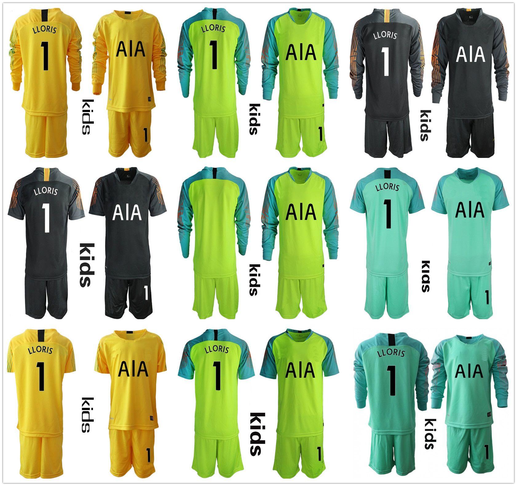 9286cfd29 2019 2018 2019 Kids Youth Long Sleeve Boys Goalie Hugo LLoris Goalkeeper  Jersey Kid Soccer Set Children #1 Lloris Uniform Football Kit Sets From  Fanshomed2, ...