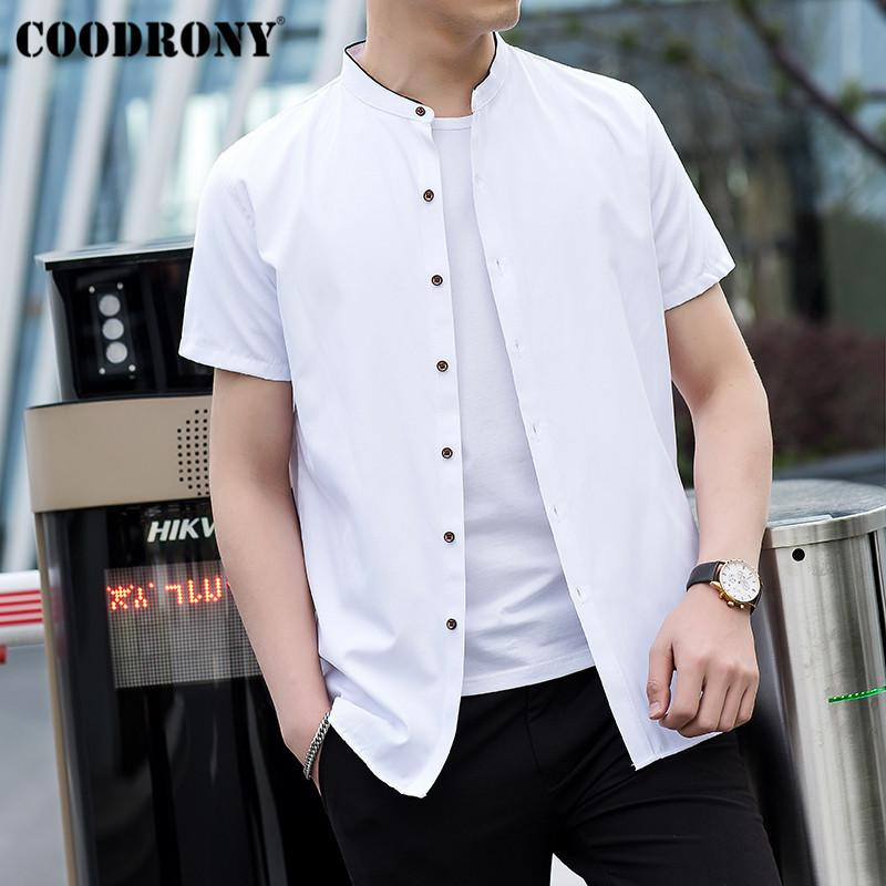 Coodrony Chinese Style Mandarin Collar Short Sleeve Men Shirt Summer Cool Cotton Shirt Men Business Casual Shirts Camisa S96017 SH190628