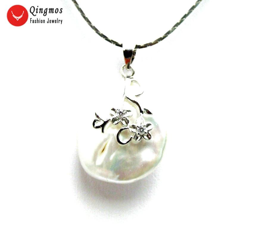 """20mm White Natural 6-7mm Pearl Flower Pendant Necklace for Women Chokers 17/"""""""