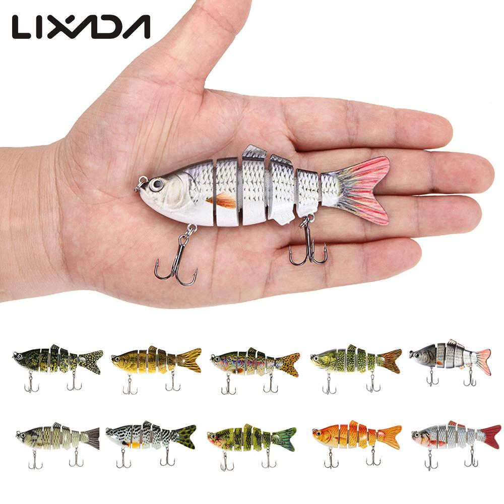 Lures Lixada 10cm 20g Fishing Wobblers 6 Segments Swimbait Crankbait Fishing Lure Bait with Artificial Hooks