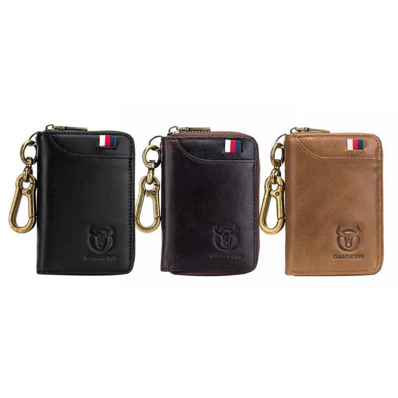 BULLCAPTAIN Original Key Holder Leather Card Wallet for Men Vintage Soft  Leather Car Keychain Coin Purse Case Zipper Wallet 2019