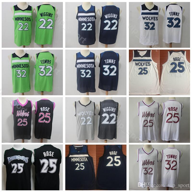 half off 67a95 f669e 2019 City Earned Edition Derrick Rose Jersey 25 Minnesota Basketball  Timberwolves Karl Anthony Towns 32 Andrew Wiggins 22 Black White Green