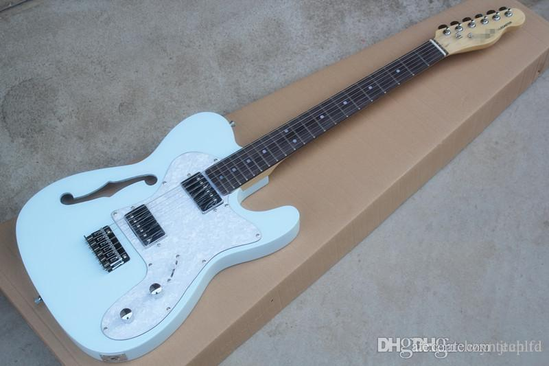 Hot Semi Hollow Light Blue Electric Guitar Pearl Guard Hot Pickup