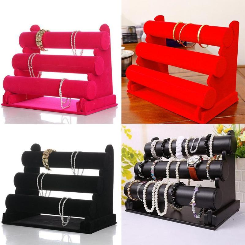 Black Velvet 3-Tier Jewelry Bracelet Watch Bangle Display Holder Stand Showcase T-bar Storage Necklace Bangle Organizer