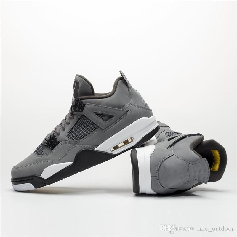 purchase cheap 91336 26398 2019 Release Authentic 4 Cool Grey Suede Gold Basketball Shoes Mens 4S  Sports Sneakers IV Wholesale US7-13 Original