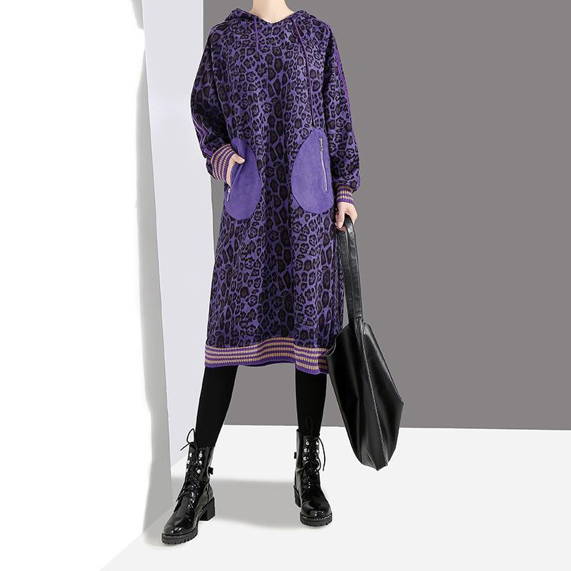 7541700ce7c3 Johnature Purple Leopard Print Dress 2019 Spring New Long Sleeve Hooded  Plus Size Women Clothing High Street Fashion Dress Plus Size Prom Dress  Prom Dresses ...