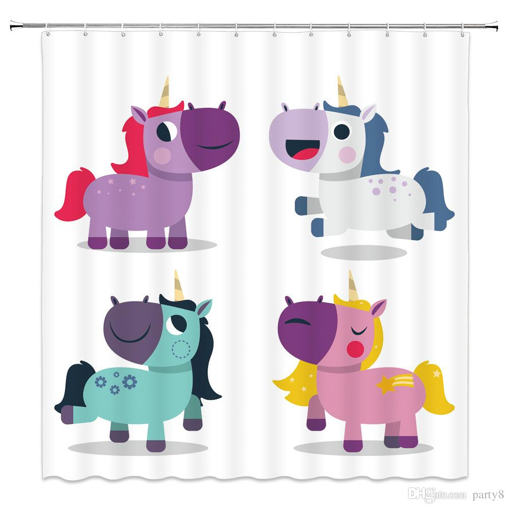 2019 Cartoon Cute Unicorn Shower Curtains Color Baby Bathroom Decor Waterproof Polyester Home Bath Hanging Curtain Set 69 X 70 Inch Cheap From Party8