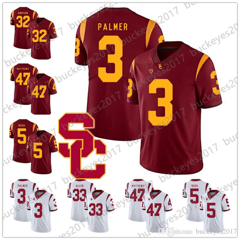 fb1614cd9fc 2019 NCAA USC Trojans #3 Carson Palmer 21 Su'A Cravens 22 Lynn Swann 33  Marcus Allen 47 Clay Matthews White Red College Football Jerseys From  Buckeyes2017, ...