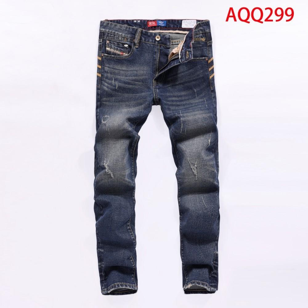 Trend Locomotive Pants Male biker Jeans Classic White Stripe Border Black Slim Hole Trousers