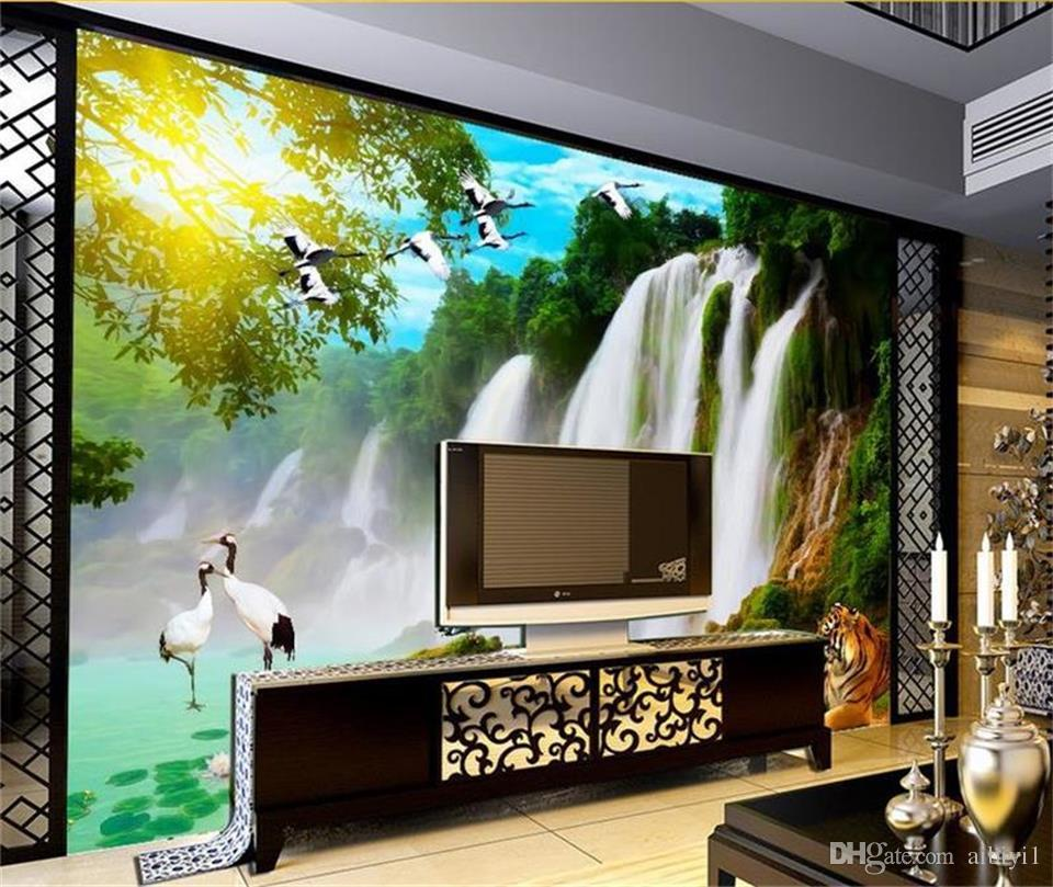 custom size 3d photo wallpaper living room bed room mural Waterfall Tiger Bird Scenery picture sofa TV backdrop wallpaper non-woven sticker