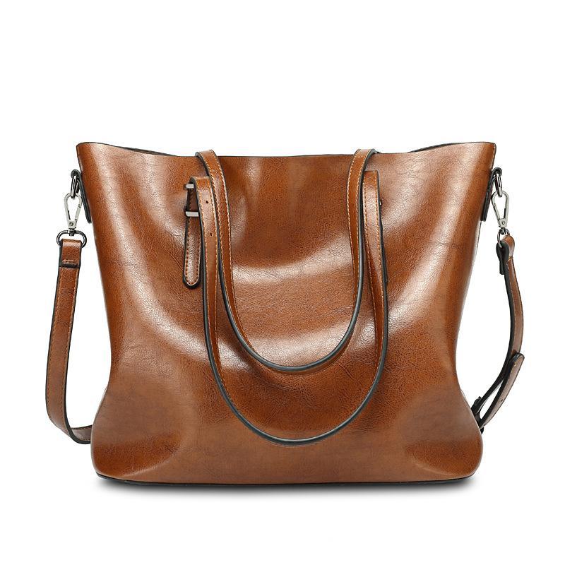 bba7e0d45545 The new one-shoulder bag, European and American fashion women's oil, wax  skin, ladies' handbag, tote bag