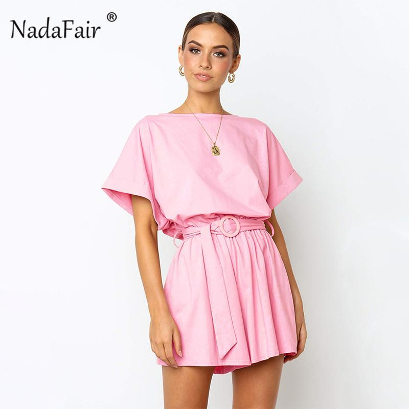 7f7ccc08d417 2019 Nadafair Cotton Short Sleeve Linen Women Casual Playsuits 2019 Belt  Lace Up O Neck Summer Rompers Women Jumpsuit Pink Black From Layercuff