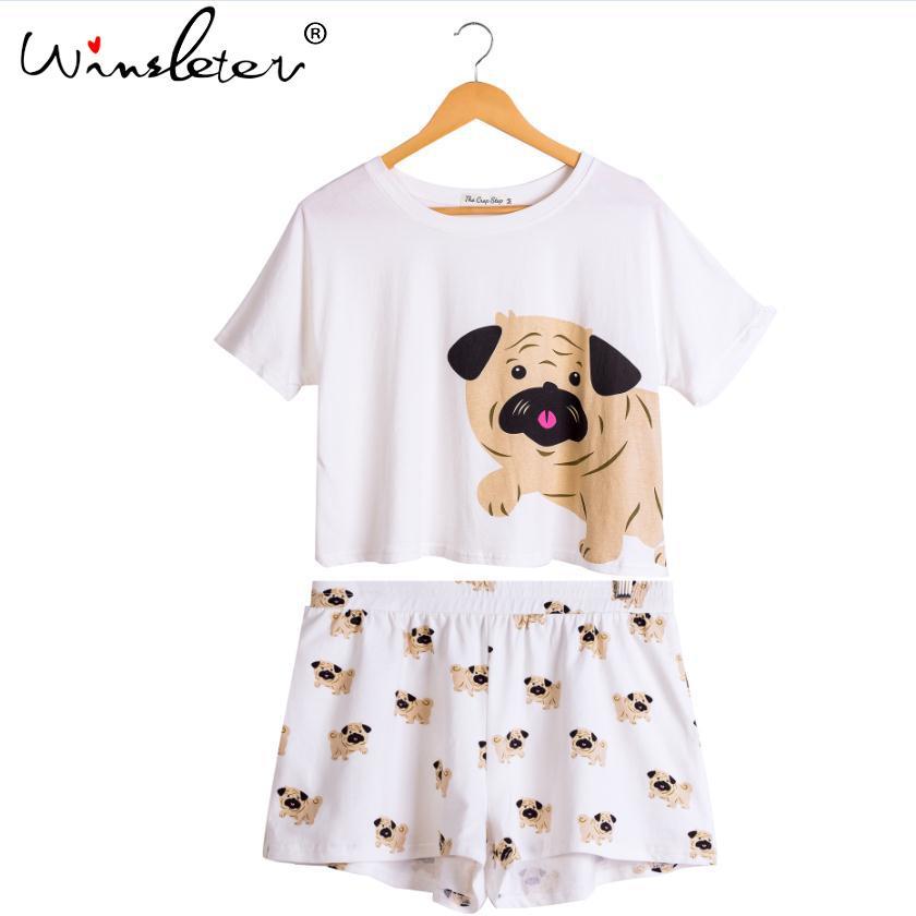 f1fff1b1b072 2019 Set Dog Pug Print Pajamas Pijamas Cotton Crop Top Elastic Waist ...
