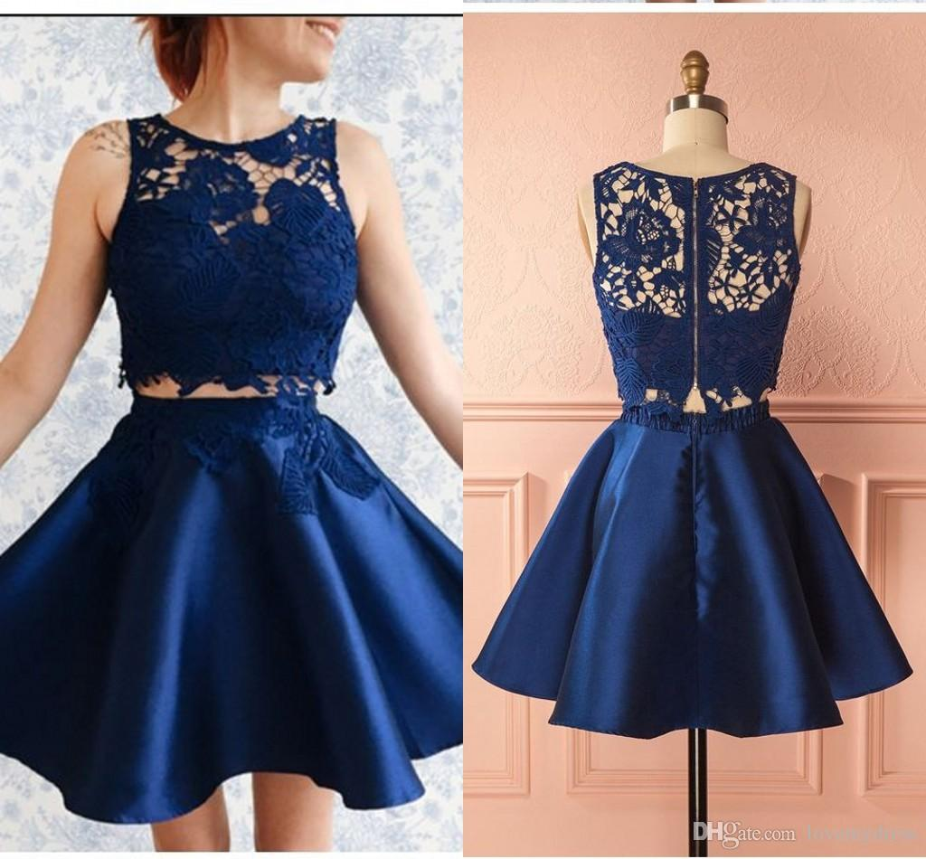 9ae09f53fc2 2019 Navy Blue Lace Graduation Short Prom Dresses Sheer Neckline Hollow Back  A Line Satin Homecoming Dress Party Cocktail Gowns Nursing Graduation  Dresses ...