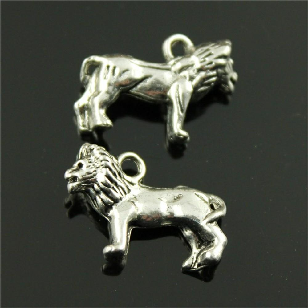 50pcs 3D Lion Pendant Charms For Jewelry Making 2 Colors Antique Bronze  Antique Silver Lion Charms Charm Lion Animal 23x15mm