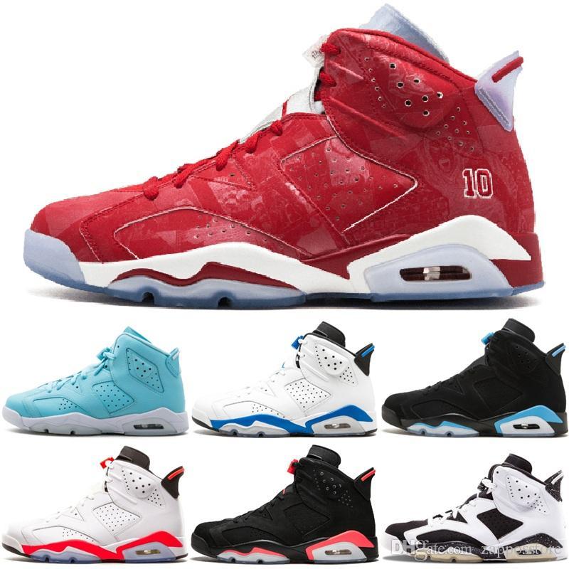 242ea98b54 6 Carmine Mens Basketball Shoes Classic 6S UNC Infrared Chrome Men Sport  Blue Red Oreo Alternate Maroon Gatorade Black Cat Sneakers 8-13