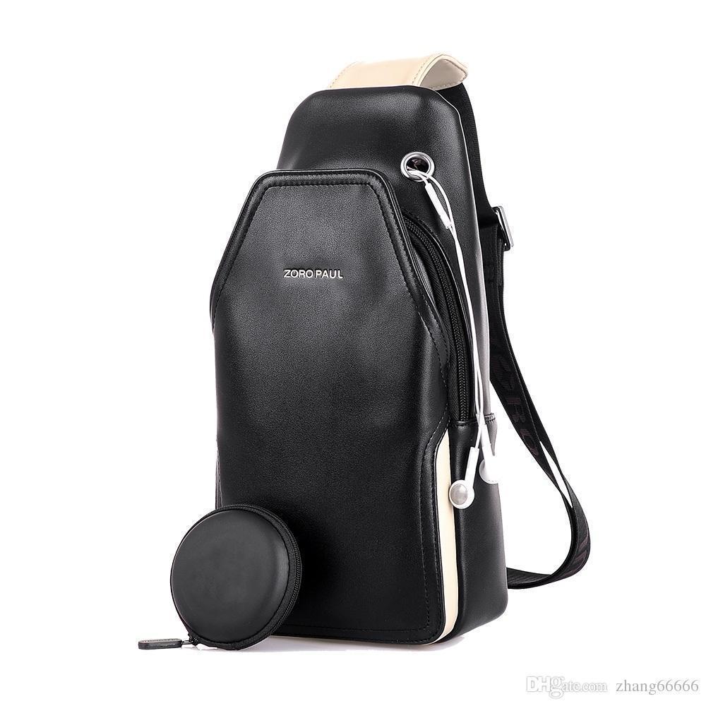 4dcaf030d Crazy2019 Men PU Leather Boys Chest Bag Attractive Crossbody Bag Men's  Clutch Shoulder Bags For Men's Headphone Plug Chest Pack