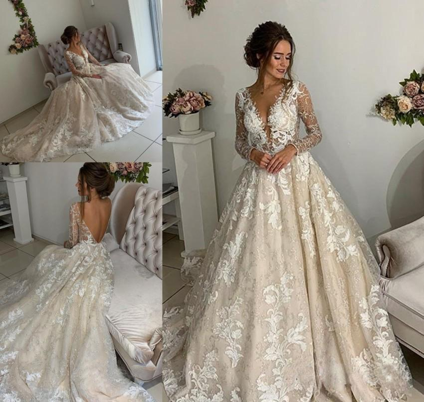 6f8782e5da0 Discount Cheap Sexy Long Sleeves Wedding Dress New Arrival A Line Appliques  Lace Country Garden Church Formal Bridal Gown Custom Made Plus Size Wedding  ...