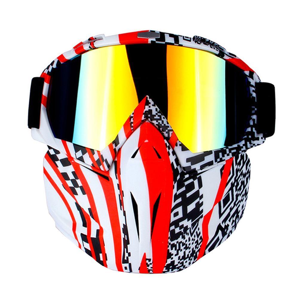 d6cc3d5bf0bab Compre Motocicleta Óculos De Montar Destacável Vintage Modular Máscara  Motocross Óculos Moto Capacete De Moto Óculos De Motociclista De Bdauto, ...