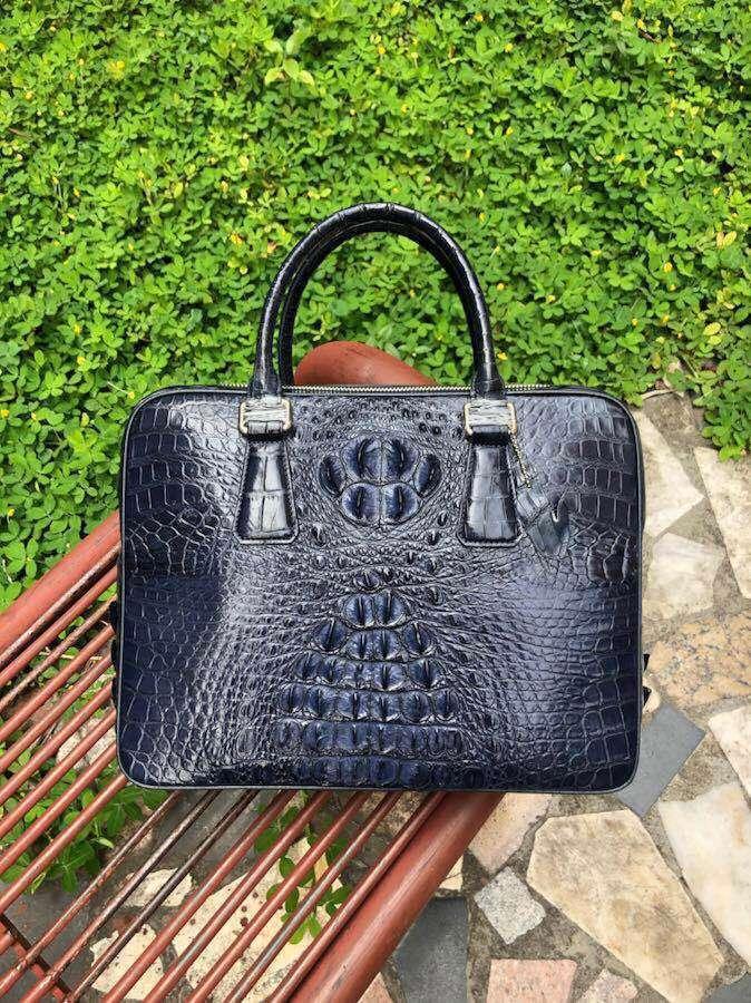 100% Genuine Alligator Skin Men Business Bag Crocodile Leather Skin Briefcase  Men Laptop Bag With Cow Lining Dark Blue Business Briefcase Leather  Briefcase ... a708cddef035e