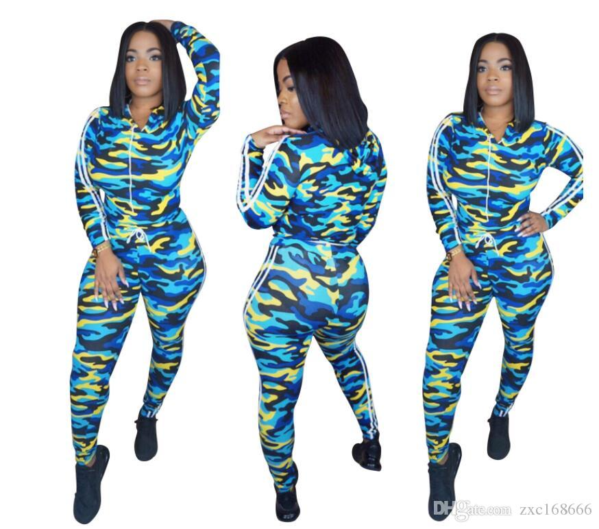 4e65a18d4f0f6 2019 Camouflage Two Piece Set Tracksuit Women Long Sleeve Camo Print Tops  And Pants Sweat Suit Outfits Matching Sets Sport Suit From Zxc168666, ...